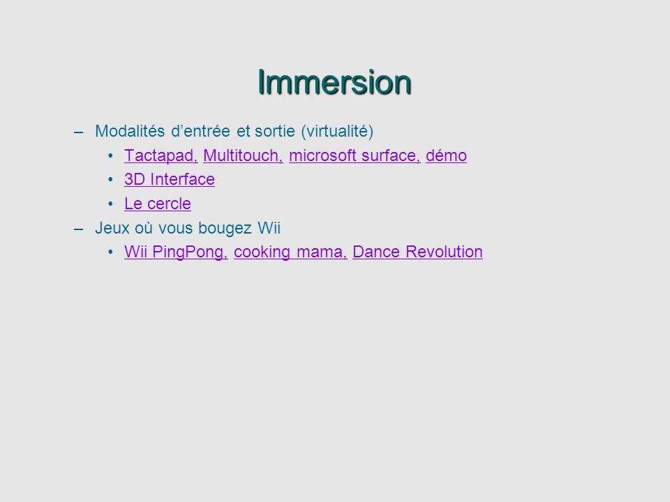 Immersion Modalités d'entrée et sortie (virtualité)