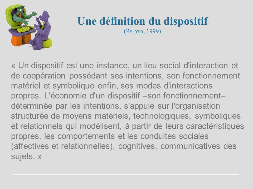 Une définition du dispositif (Peraya, 1999)