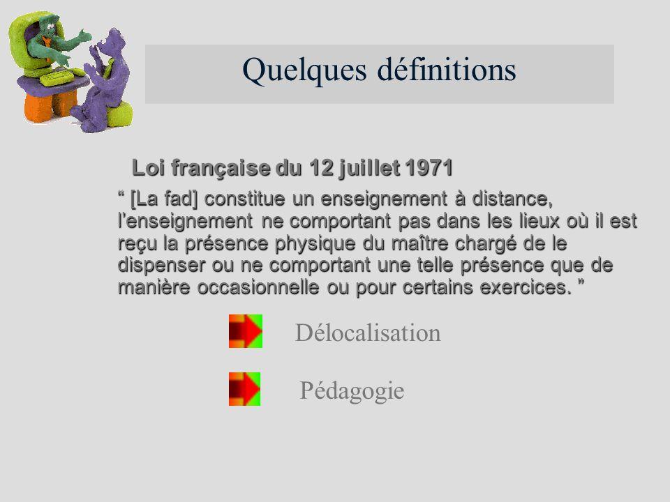 Quelques définitions Délocalisation Pédagogie