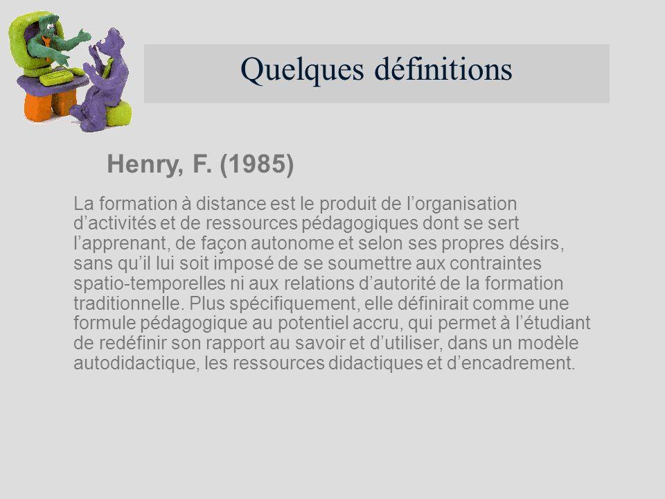 Quelques définitions Henry, F. (1985)