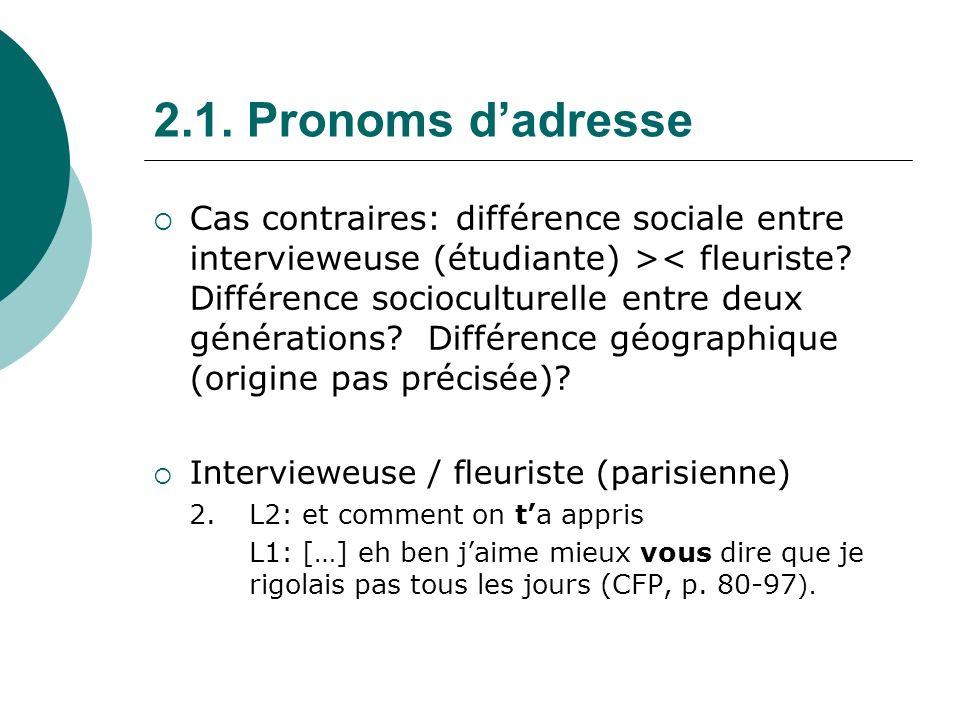 2.1. Pronoms d'adresse