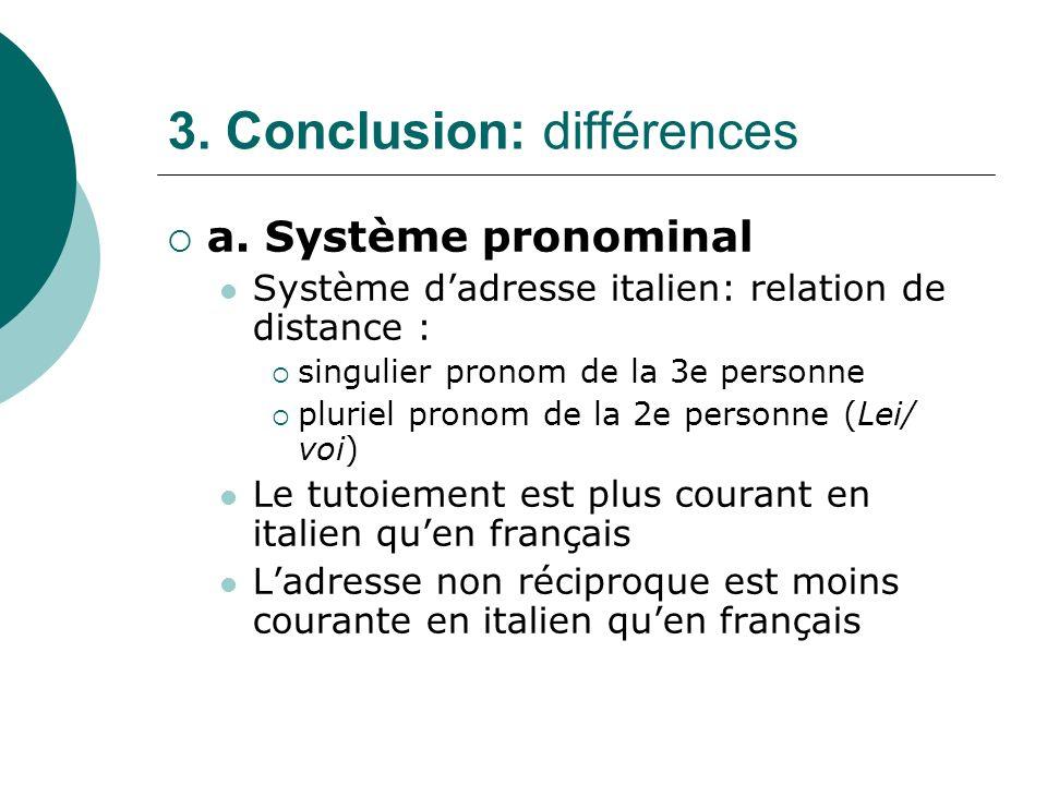 3. Conclusion: différences