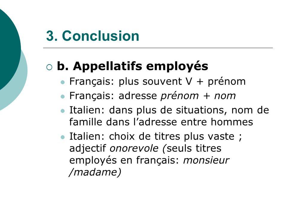3. Conclusion b. Appellatifs employés