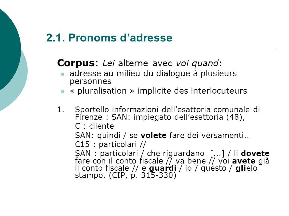 2.1. Pronoms d'adresse Corpus: Lei alterne avec voi quand: