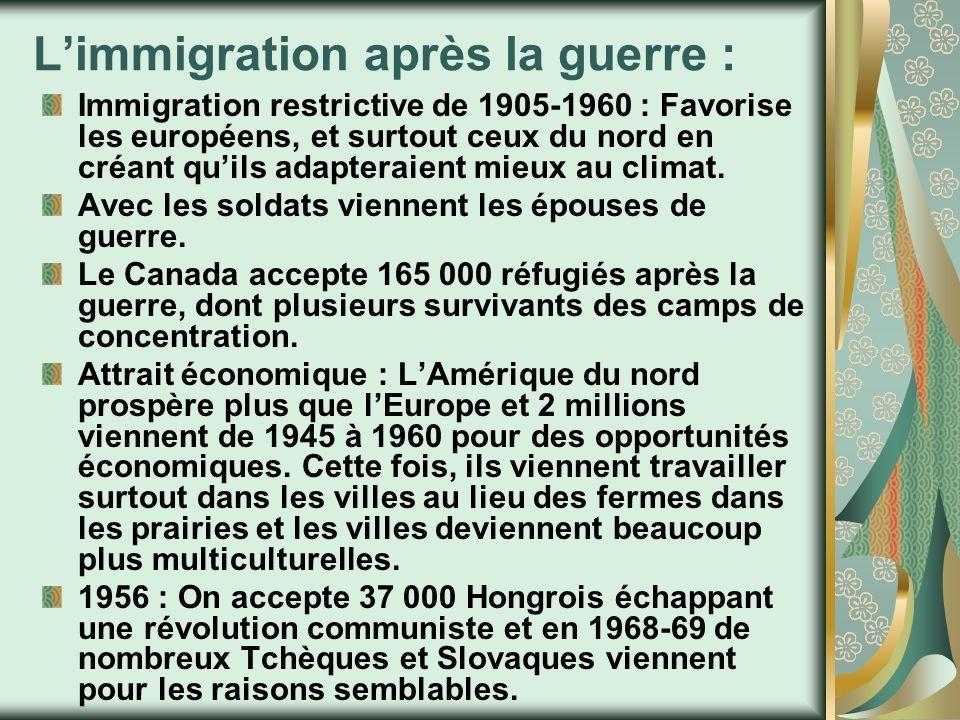 L'immigration après la guerre :