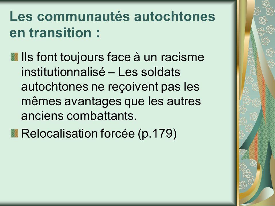 Les communautés autochtones en transition :