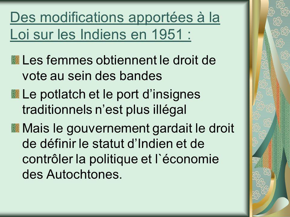 Des modifications apportées à la Loi sur les Indiens en 1951 :