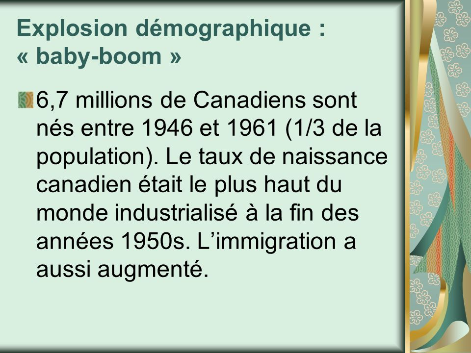 Explosion démographique : « baby-boom »