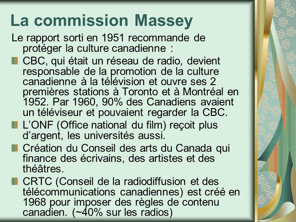 La commission Massey Le rapport sorti en 1951 recommande de protéger la culture canadienne :