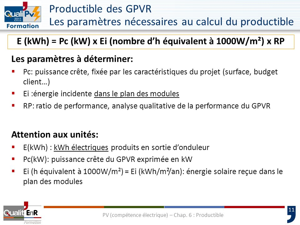 E (kWh) = Pc (kW) x Ei (nombre d'h équivalent à 1000W/m²) x RP