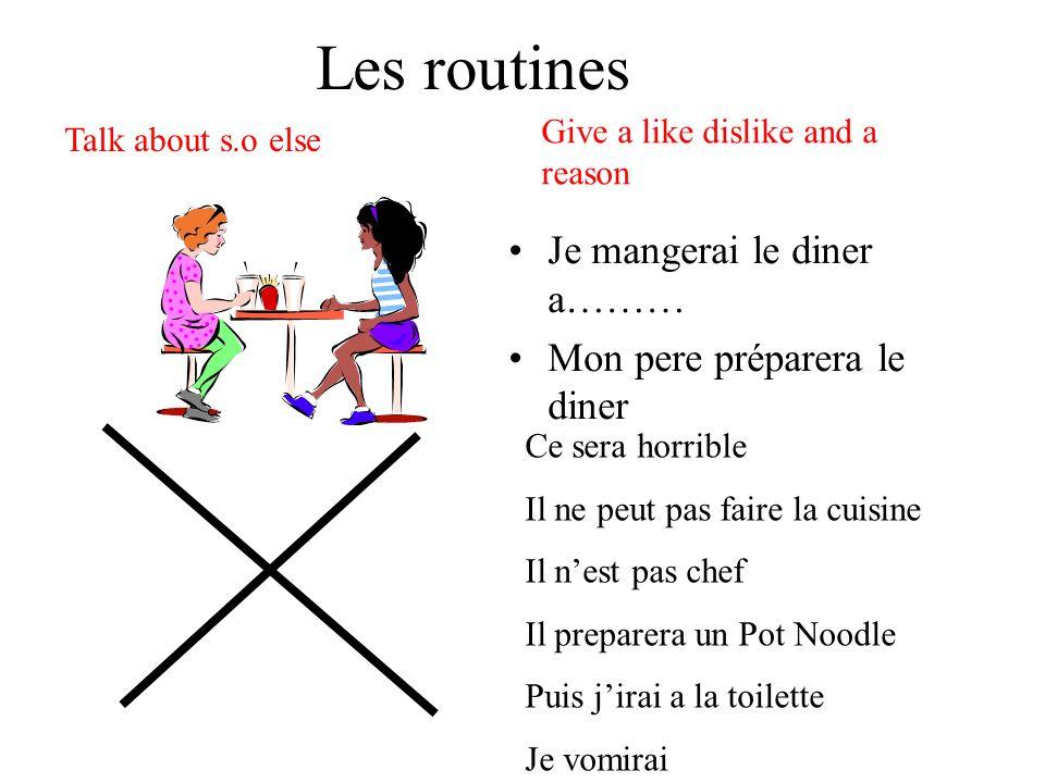 Les routines Je mangerai le diner a……… Mon pere préparera le diner