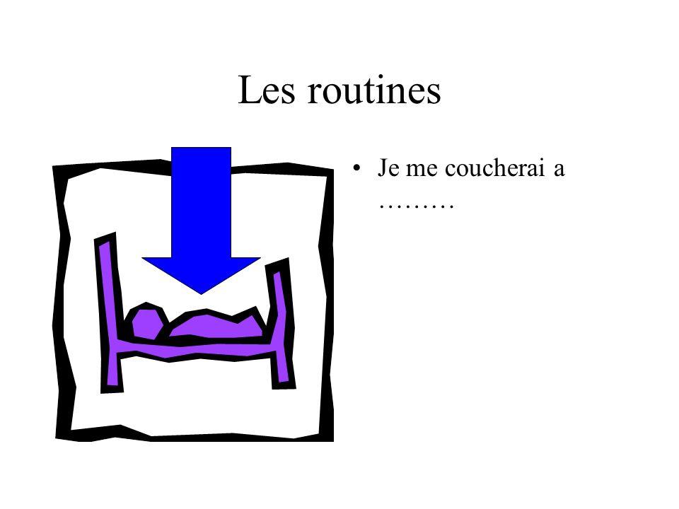 Les routines Je me coucherai a ………