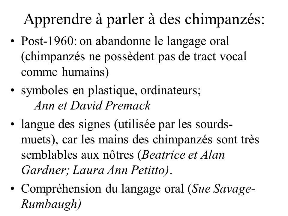 Apprendre à parler à des chimpanzés: