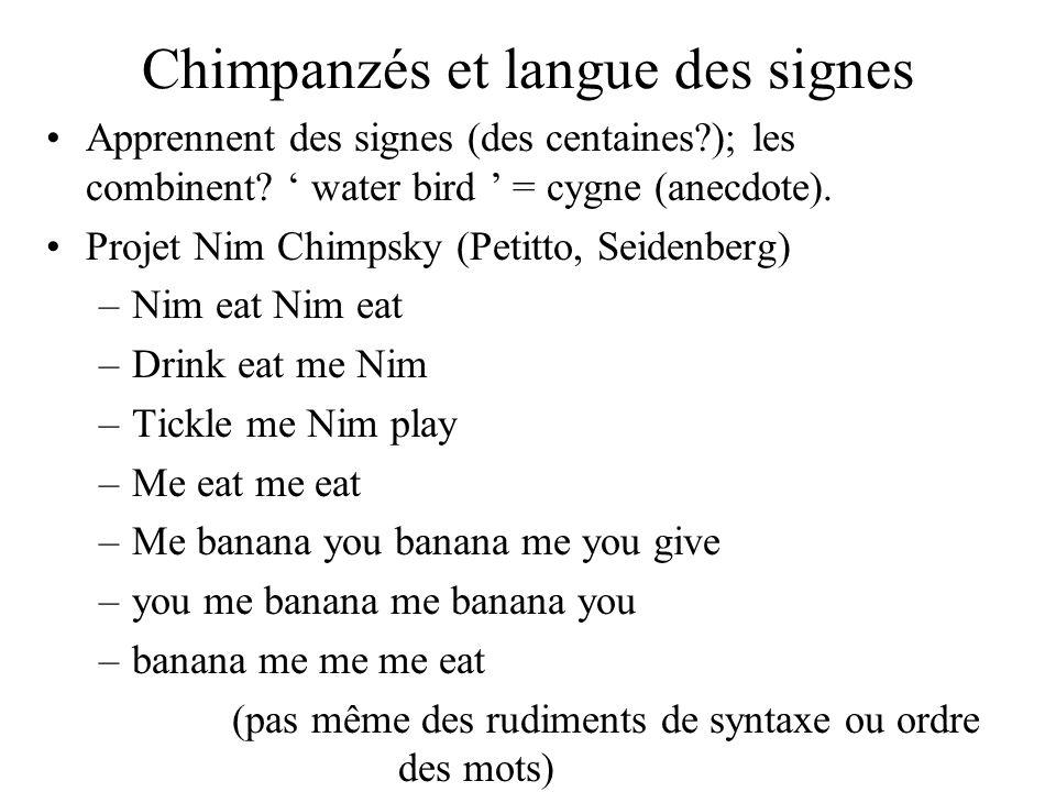 Chimpanzés et langue des signes