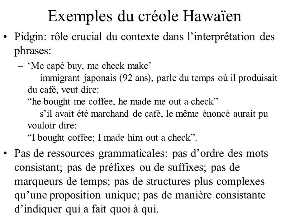 Exemples du créole Hawaïen