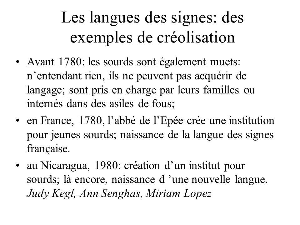 Les langues des signes: des exemples de créolisation