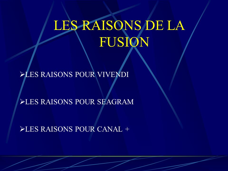 LES RAISONS DE LA FUSION