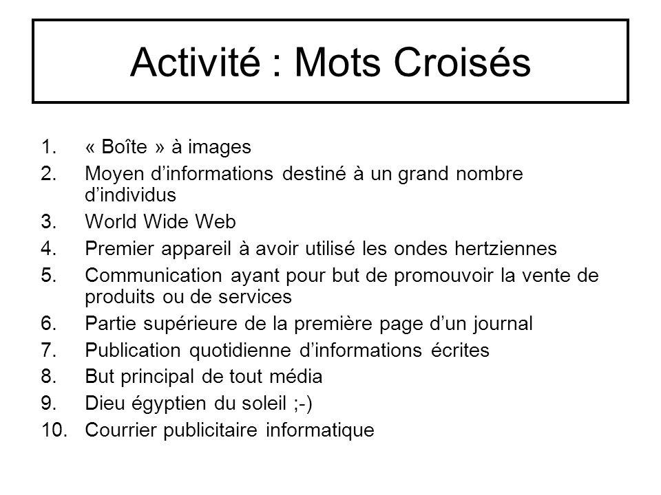 Activité : Mots Croisés