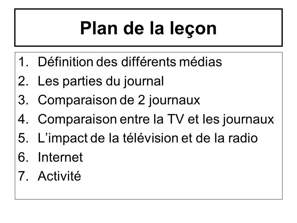 Plan de la leçon Définition des différents médias