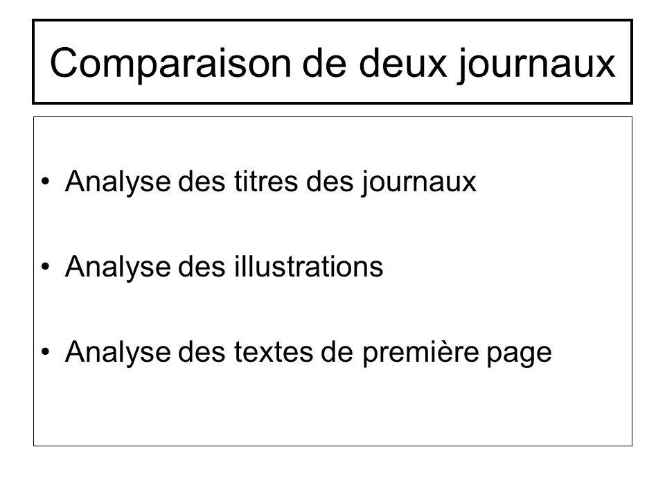 Comparaison de deux journaux