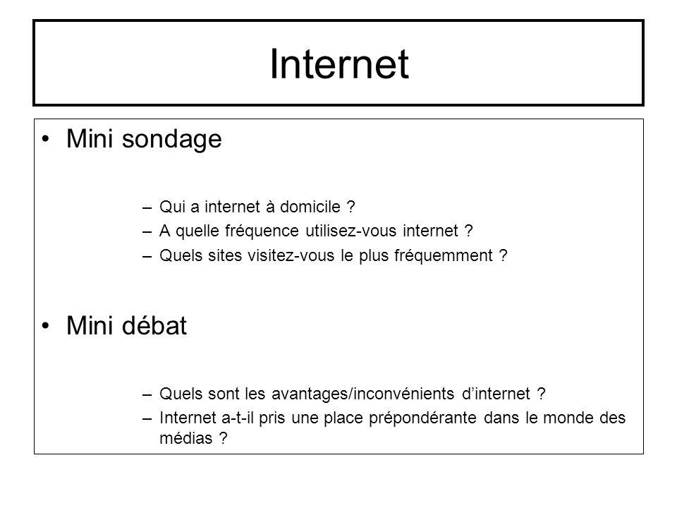 Internet Mini sondage Mini débat Qui a internet à domicile