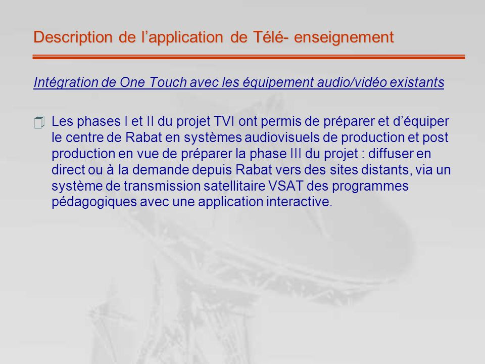 Description de l'application de Télé- enseignement