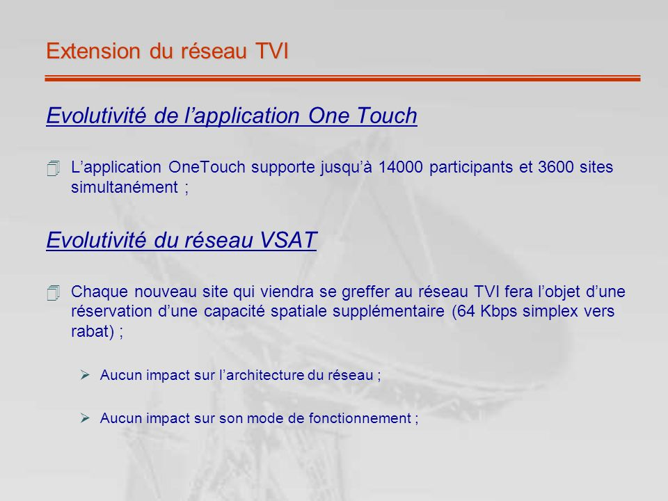 Extension du réseau TVI