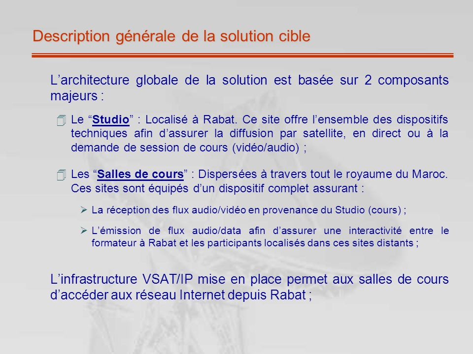 Description générale de la solution cible