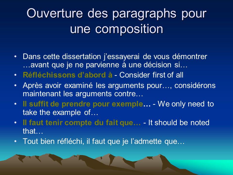Ouverture des paragraphs pour une composition