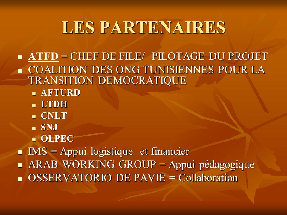 LES PARTENAIRES ATFD = CHEF DE FILE/ PILOTAGE DU PROJET