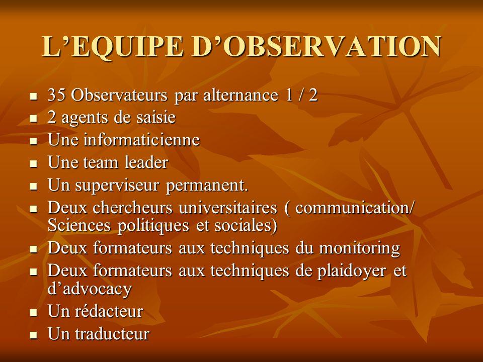 L'EQUIPE D'OBSERVATION
