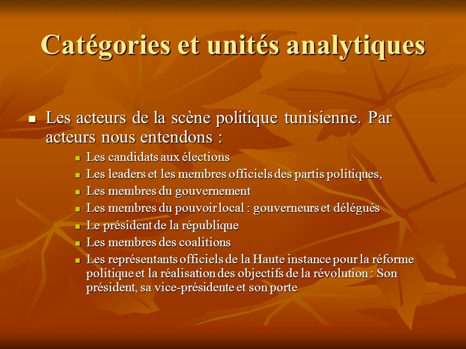 Catégories et unités analytiques