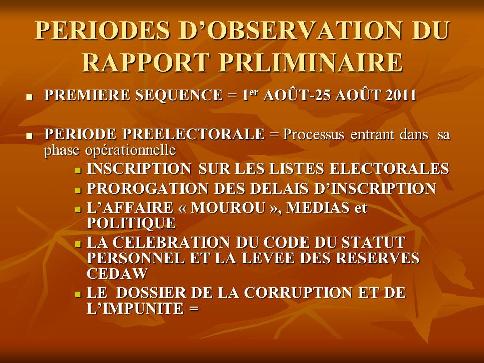 PERIODES D'OBSERVATION DU RAPPORT PRLIMINAIRE