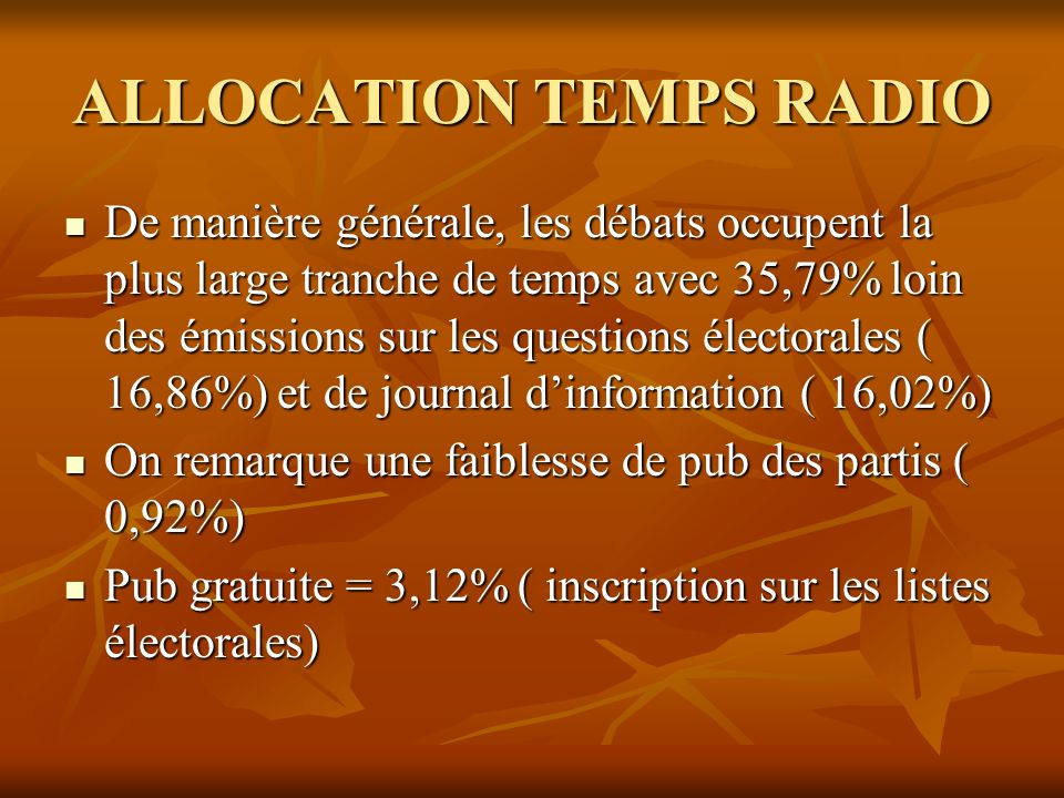 ALLOCATION TEMPS RADIO