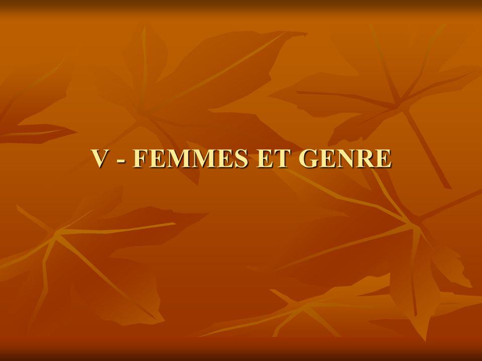 V - FEMMES ET GENRE