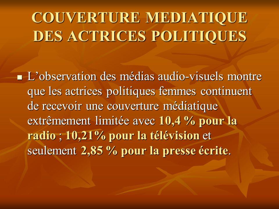 COUVERTURE MEDIATIQUE DES ACTRICES POLITIQUES
