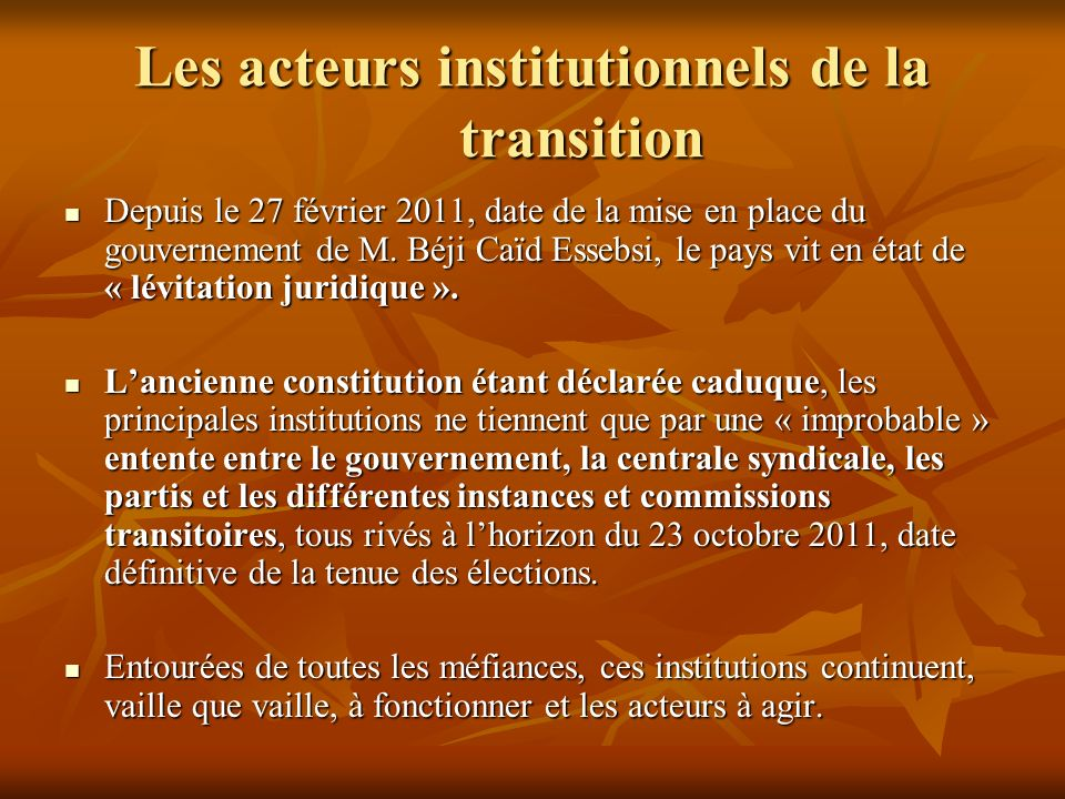 Les acteurs institutionnels de la transition