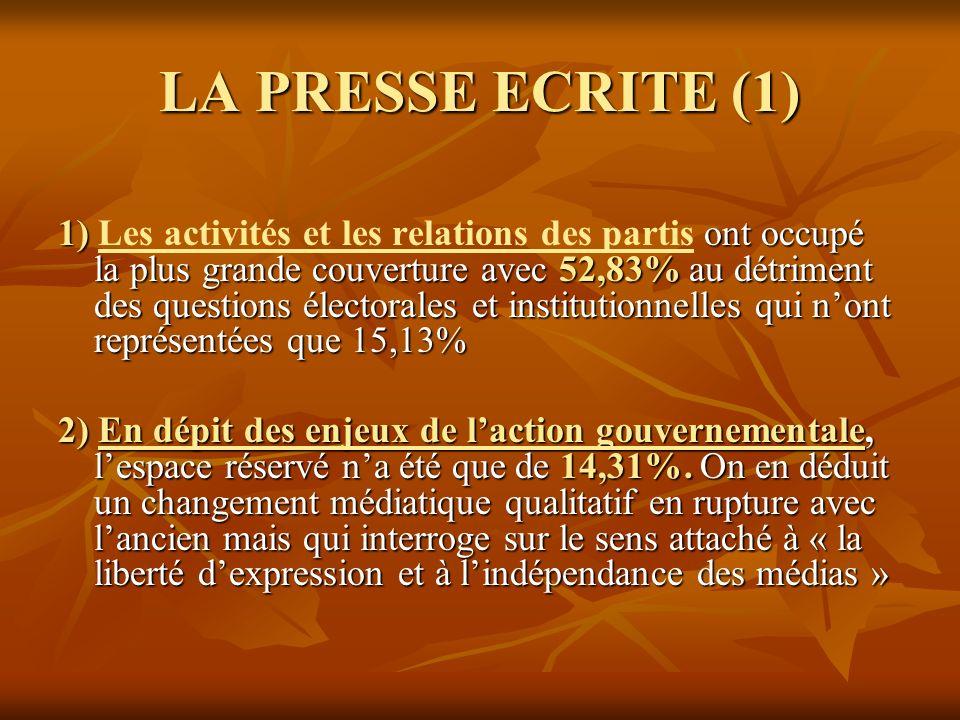 LA PRESSE ECRITE (1)