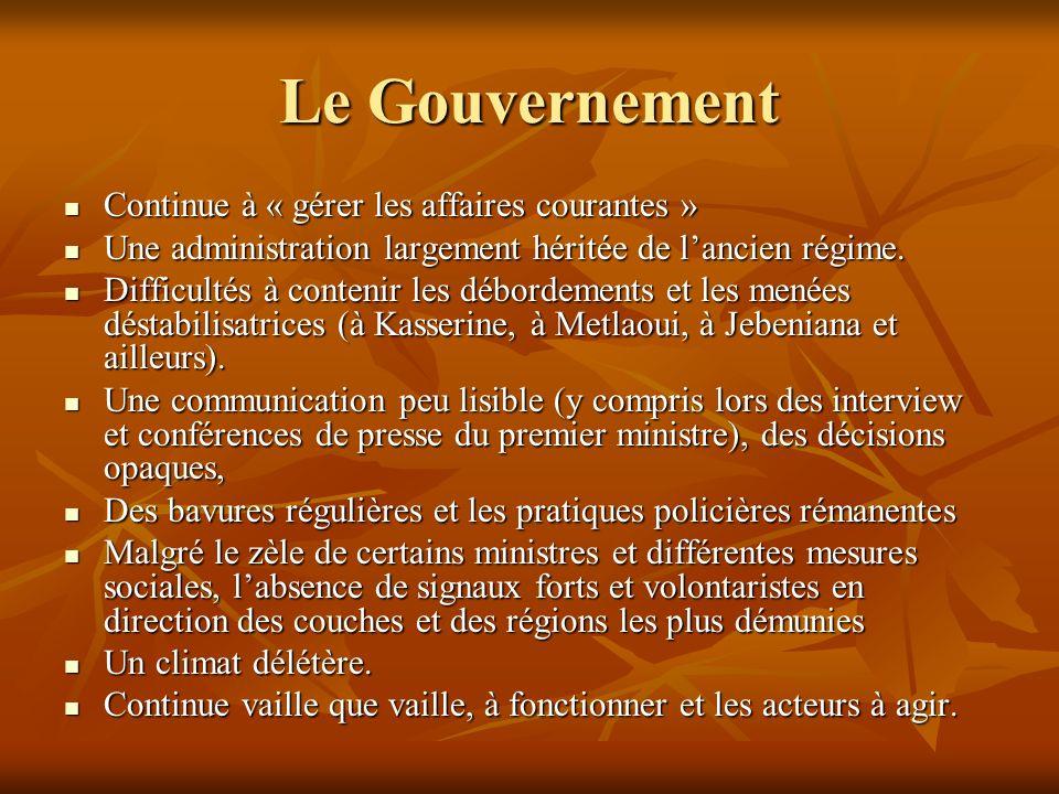 Le Gouvernement Continue à « gérer les affaires courantes »