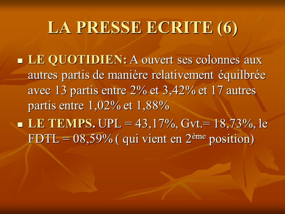 LA PRESSE ECRITE (6)