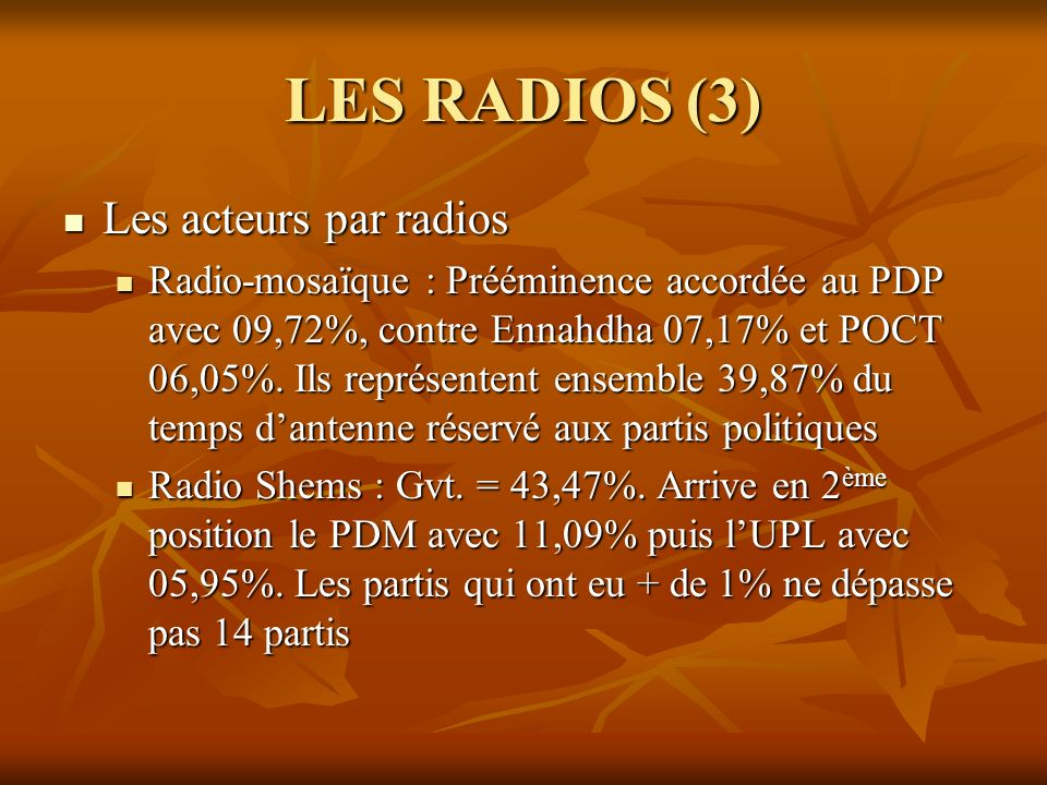 LES RADIOS (3) Les acteurs par radios