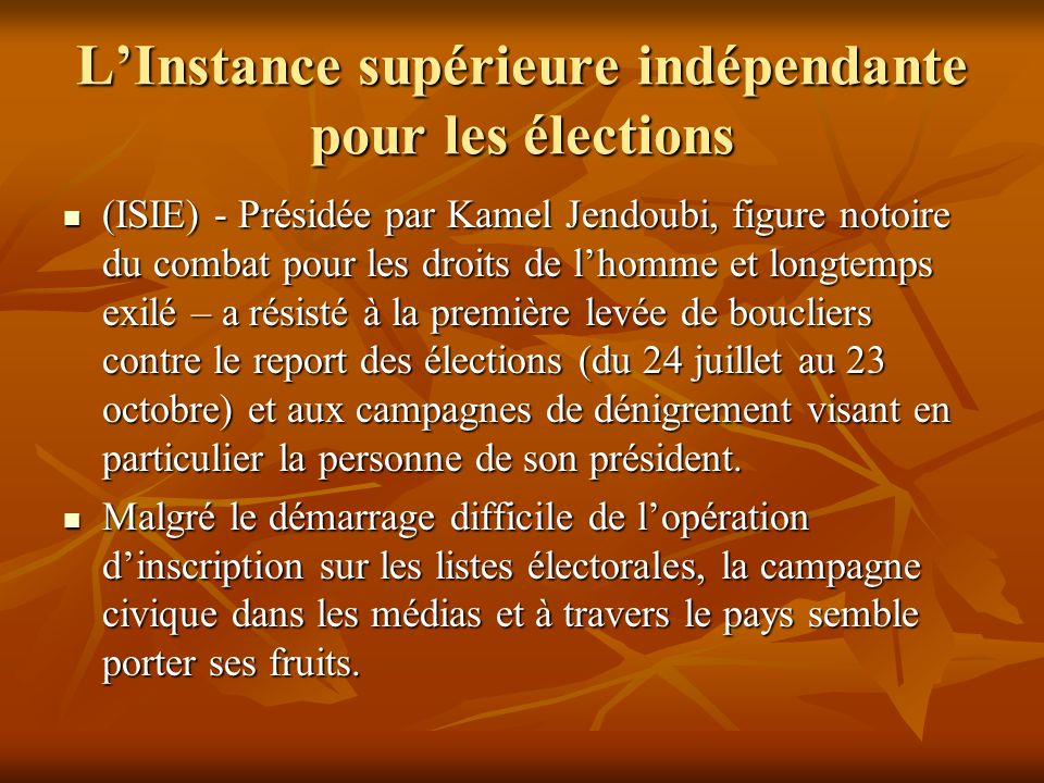 L'Instance supérieure indépendante pour les élections