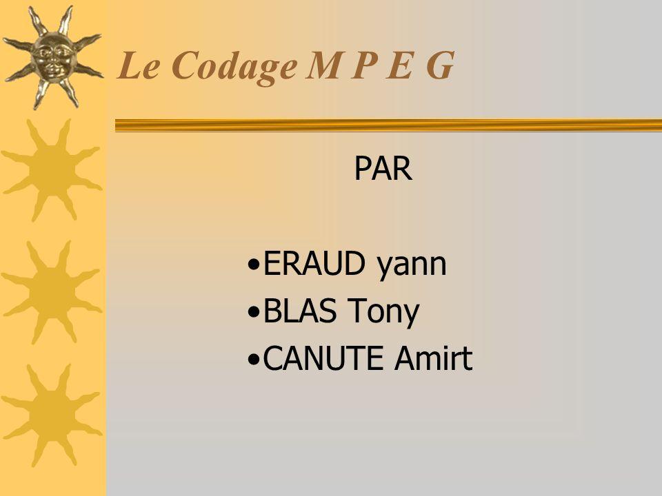 Le Codage M P E G PAR ERAUD yann BLAS Tony CANUTE Amirt
