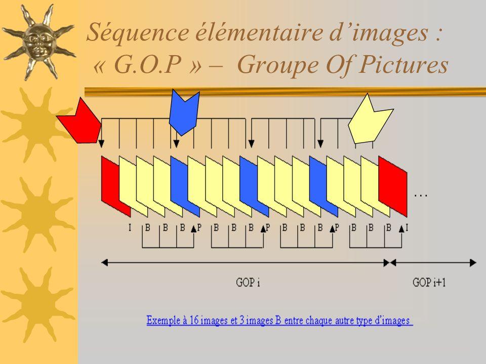 Séquence élémentaire d'images : « G.O.P » – Groupe Of Pictures