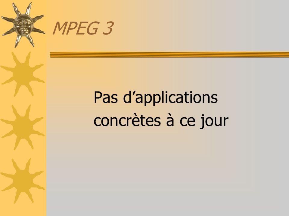 MPEG 3 Pas d'applications concrètes à ce jour