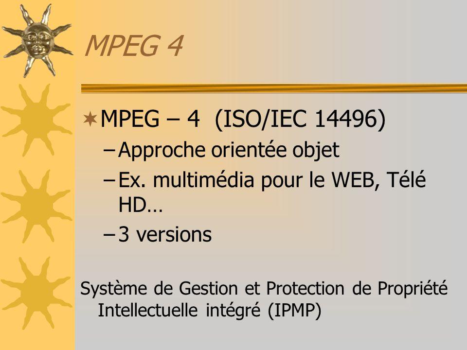 MPEG 4 MPEG – 4 (ISO/IEC 14496) Approche orientée objet