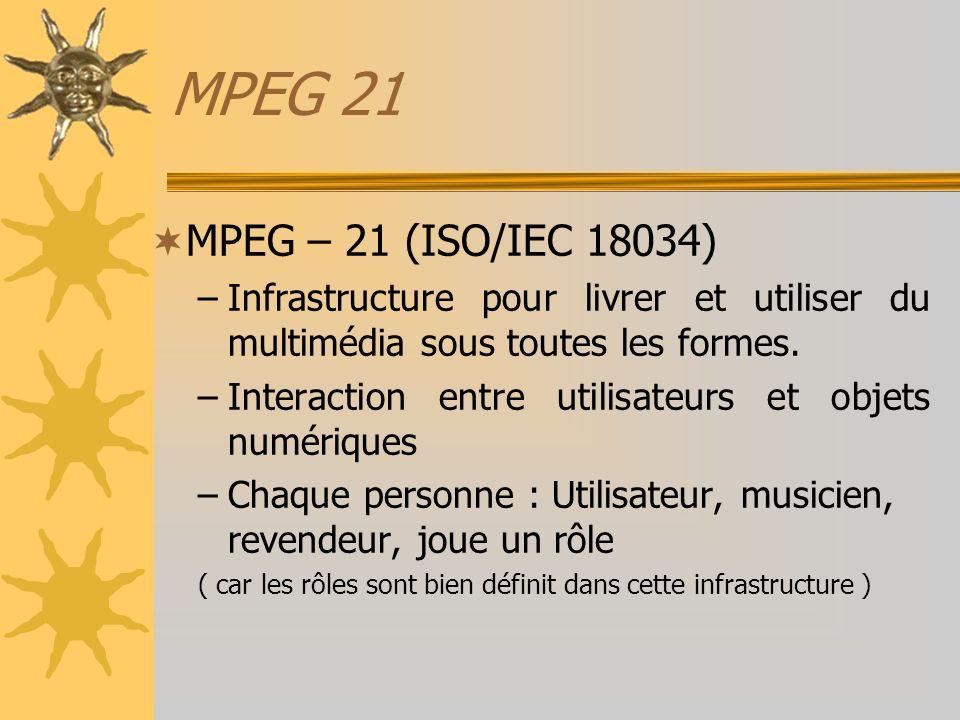 MPEG 21 MPEG – 21 (ISO/IEC 18034) Infrastructure pour livrer et utiliser du multimédia sous toutes les formes.