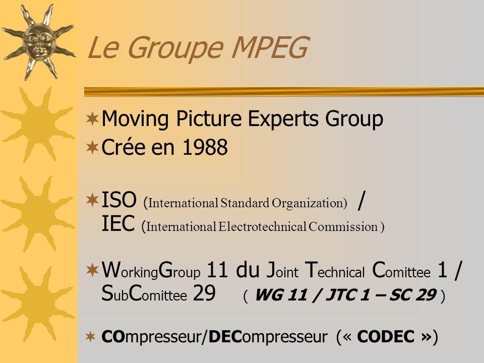 Le Groupe MPEG Moving Picture Experts Group Crée en 1988