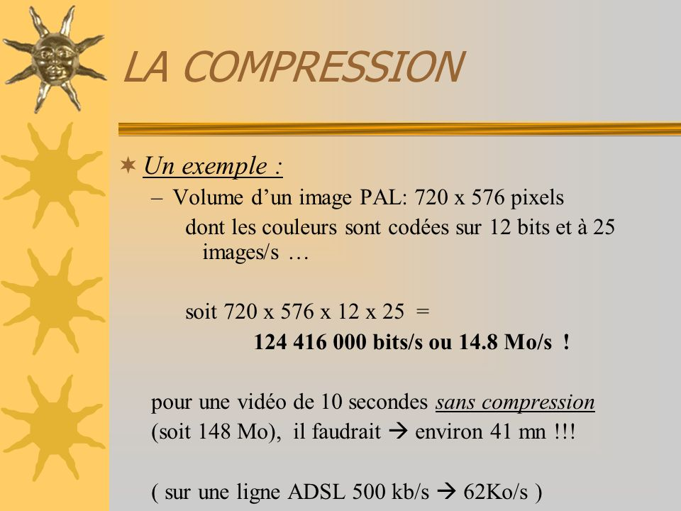 LA COMPRESSION Un exemple : Volume d'un image PAL: 720 x 576 pixels