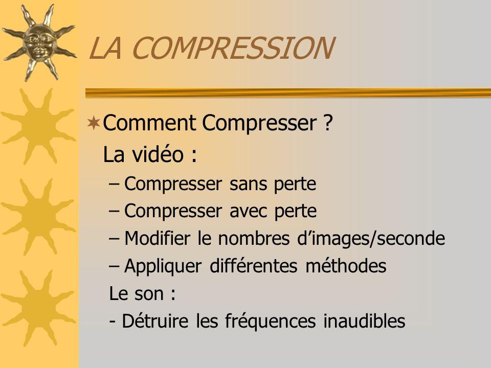 LA COMPRESSION Comment Compresser La vidéo : Compresser sans perte